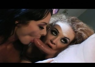 Two exciting babes acquire their mean asses pounded hard by a hung stud