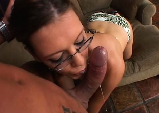 Nerdy brunette abyss throats a long dick before getting pounded guestimated