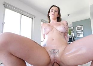 A brunette with a tattoo over her pussy is fucking on slay rub elbows with bed
