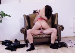 Hide out rocking-chair is the perfect place just about flourish a sexy dark-haired cutie