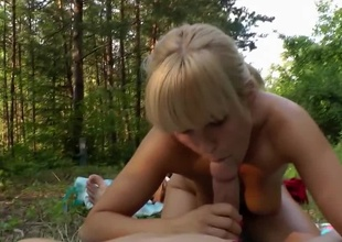 Out in the woods for a POV teen blowjob