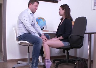 Attractive academy girl has relaxation with feisty teacher