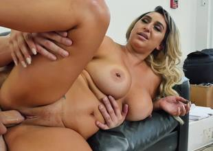Adulterated blonde whore Nina Kayy getting her both holes banged