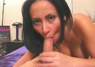 Brunette babe sucks huge cock. Willing blowjob, eye contact, cumshot.