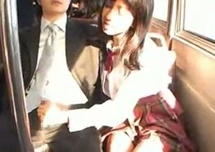 Schoolgirl handjob in public