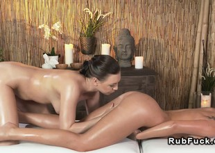 Beautiful brunette has lesbian massage
