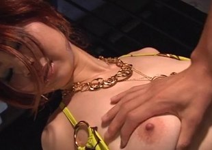 Glamour tot with a fantastic breast of natural Japanese tits