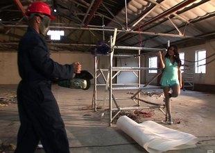 Masked set-up workers fuck a slut in a short dress