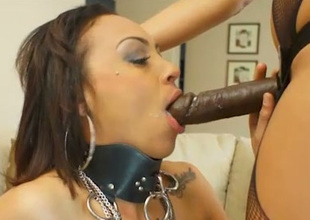 Hot mistress fucks say no to slave with a black strap on dildo
