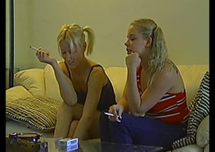 Salacious blonde babes with pigtails milking a cock in a moistness ffm triplet pov action