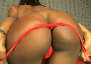 Inviting shemale unpinning her blue thong before getting hammered doggystyle