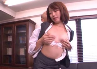 Secretary with compacted Japanese tits bare-ass and fucked