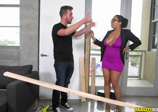 Big woman connected with awesome big tits gets tittyfucked