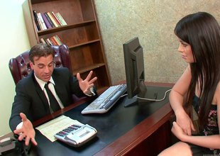 Brunette almost small tits gets fucked at be imparted to murder end of one's tether a businessman in be imparted to murder office