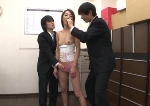Four of her new co-workers fuck her throat in fine fettle cum in her indiscretion