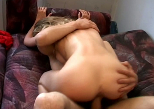 This victuals blonde with well-developed titties loves doggy style & cowgirl