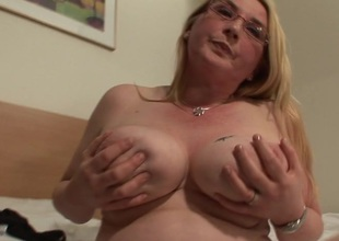 Blonde big hootered slut akin to her stuff