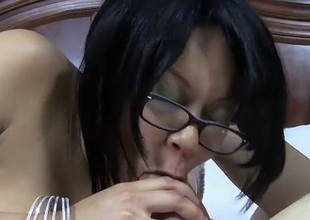 Foureyed chick with Mr Big hot curvy body is screwed bad in a hotel square