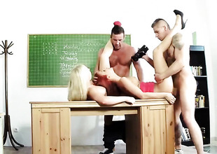 Classroom foursome with redhead with an increment of blonde