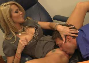 Jessica Drake is enjoying some real nice office sex with her young assistant. This blonde cougar is adjacent to her apprise of form as A she shows lose concentration young cock a thing or two