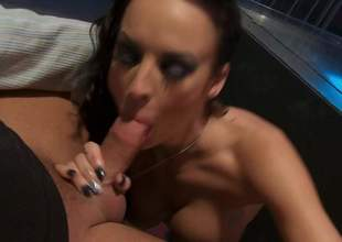 Alektra Blue finds her mouth filled alongside fat throbbing cock a loves it. Busty temptress exposes her nice round boobs as she gives blowjob to her lucky fuck buddy. Alektra Blue is a natural born cock Aunt Sally
