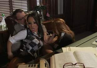 Asa Akira plus Kirsten Price get their parsimonious holes drilled in trio action in the lead office. Asian hottie in sexy uniform loves taking older guys throbbing cock in say no to wet distance from vagina