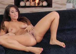 Shameless undress brunette Eva Lovia relating to sexy breast opens her feet on the vis-:-vis and inserts two fingers in her pink hole. She plays relating to her hot pussy in close here for your viewing distraction
