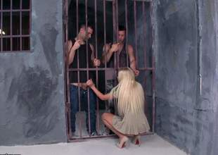 Skinny peaches Angie Koks with small titties and pink clean pussy gets her mouth and minuscule ass fucked overwrought two wicked guys in prison. Watch them fuck the shit out of easy peaches chick
