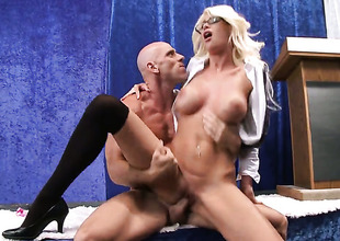 In all directions huge titties shows her cock sucking talents with respect to Johnny Sins