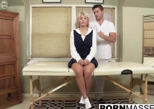 Blonde Kayla gags insusceptible to big uncut dick stub boob massage