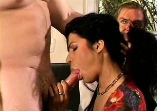 Awesome babe Mrs L Rio gets a hot stud to fuck her to the fullest hubby watches