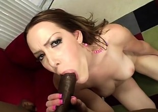Desirable redhead relinquishes her vehement pussy to a massive black cock