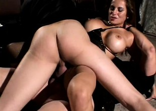 Big-breasted hooker with lusty cunt plays harmful lark with duo dicks
