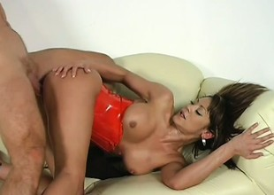 Stephanie Tripp gobbles involving his rod and rides him in the lead he dumps his load