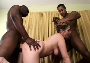 Slutty blonde gets her needy holes fucked hard hard by a group of swart guys