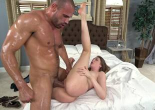 A hot euro unsubtle is covered with oil and then she is getting fucked
