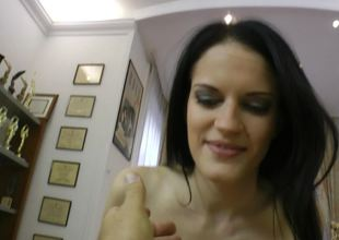 A raven haired girl anent natural boobs is object rammed overwrought a big pecker