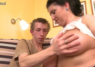 Breasty bushy mother receives screwed hard with the addition of squirts