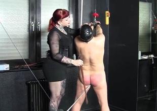 Femdom photograph with a hot floozy punishing a lackey
