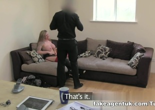 Brit girl gets spanked, fingered and fucked on cast aside couch